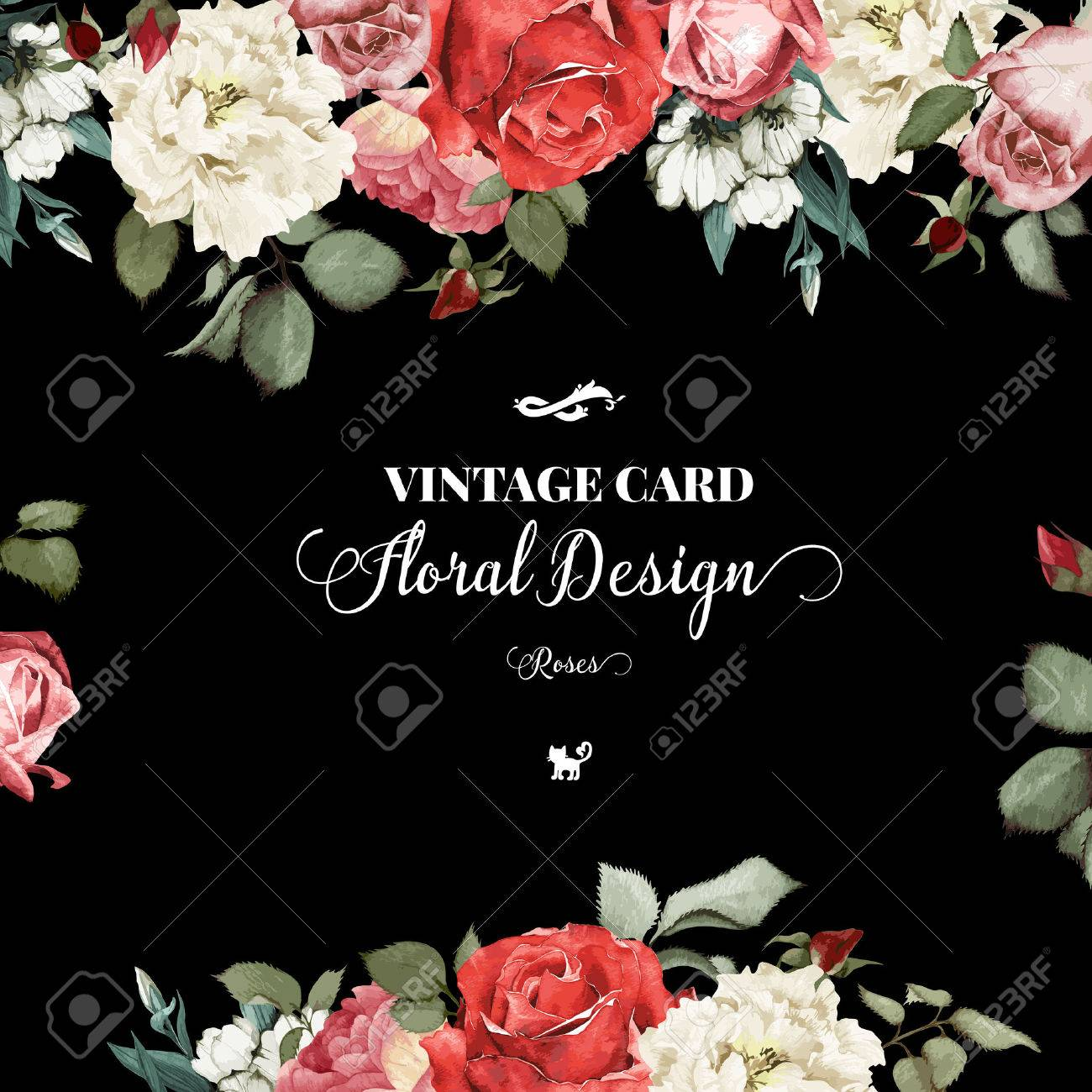 Greeting card with roses, watercolor, can be used as invitation card for wedding, birthday and other holiday and summer background. Vector illustration. - 42138518