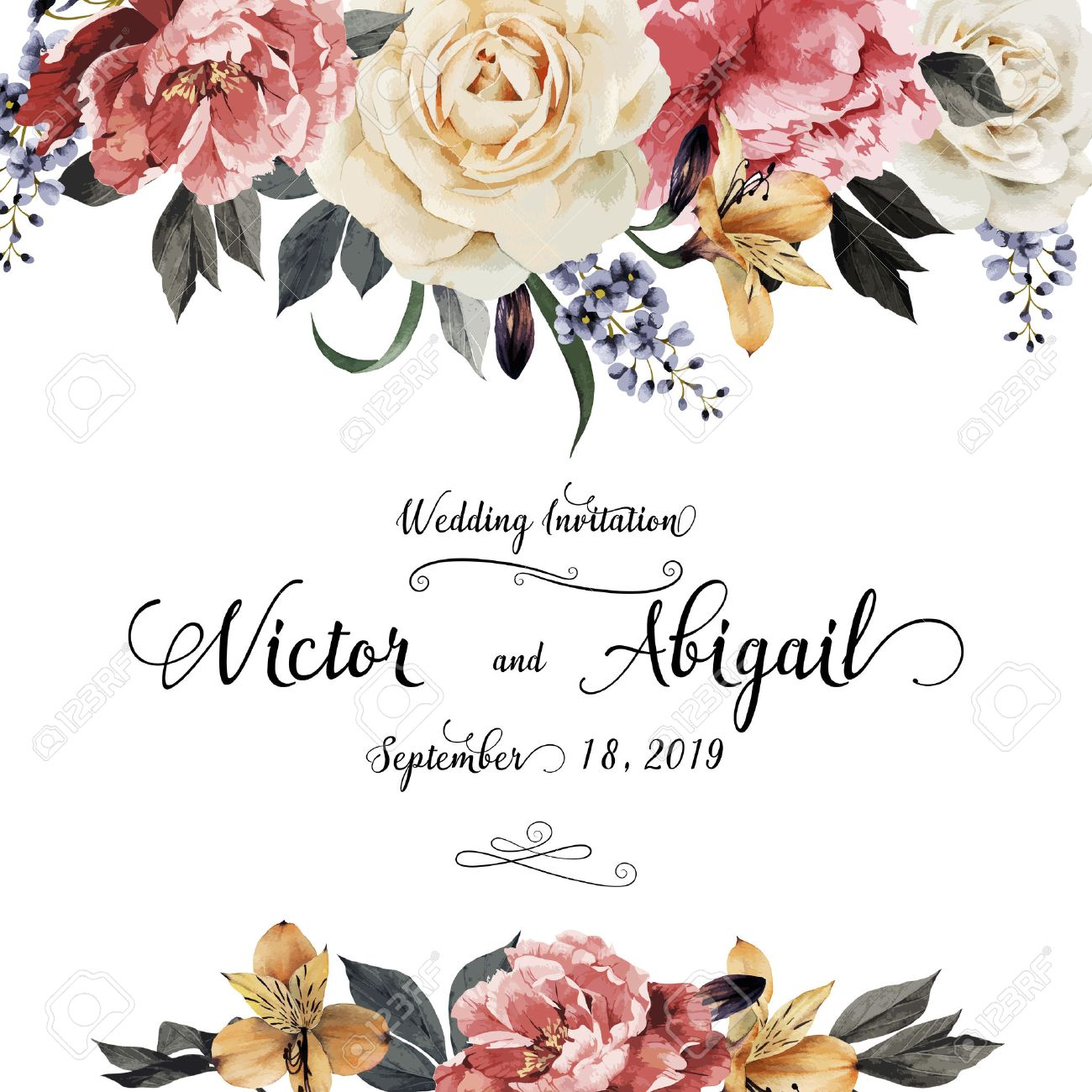 Greeting Card With Roses Watercolor Can Be Used As Invitation