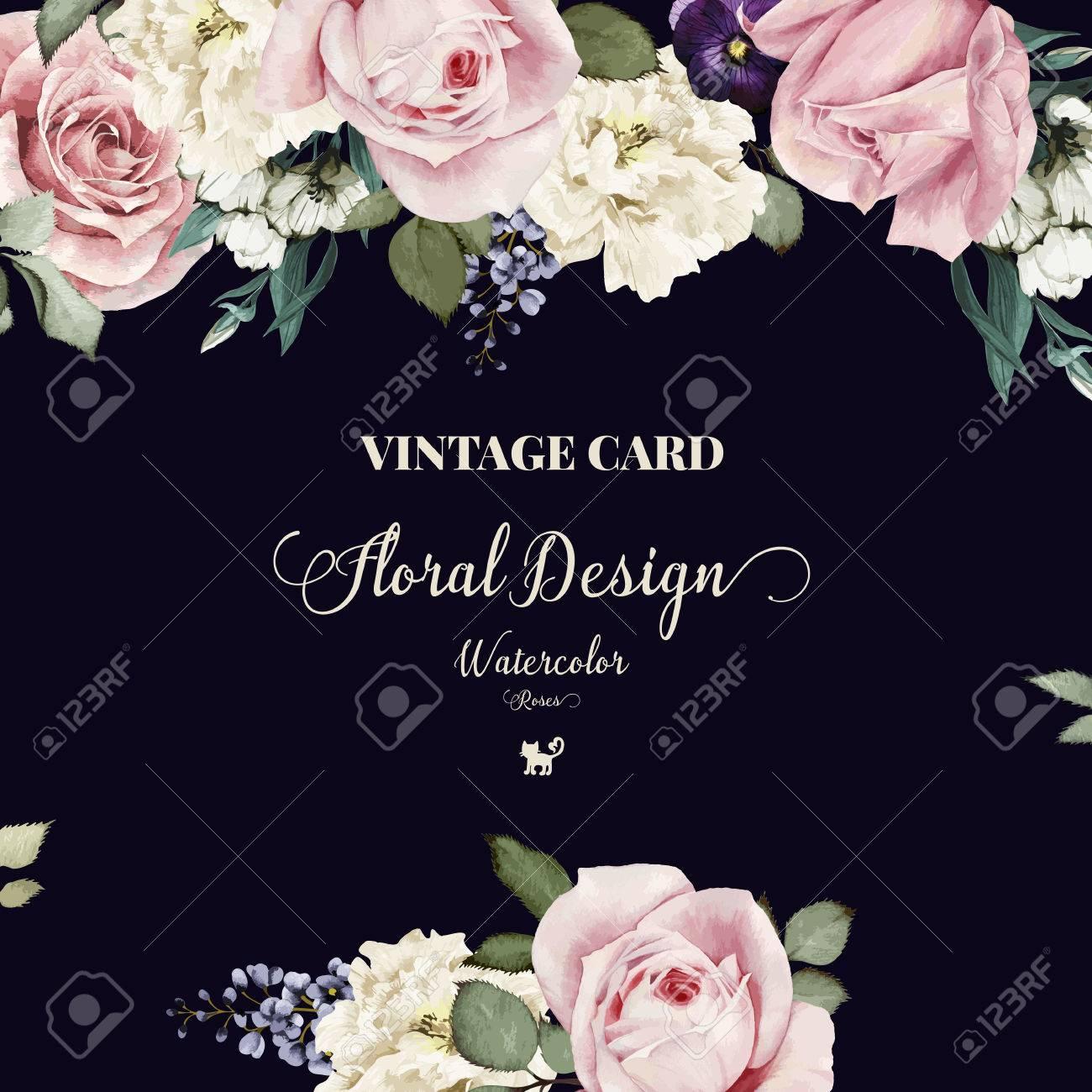 Cartoline Auguri Matrimonio : Vettoriale cartolina d auguri con le rose acquerello può