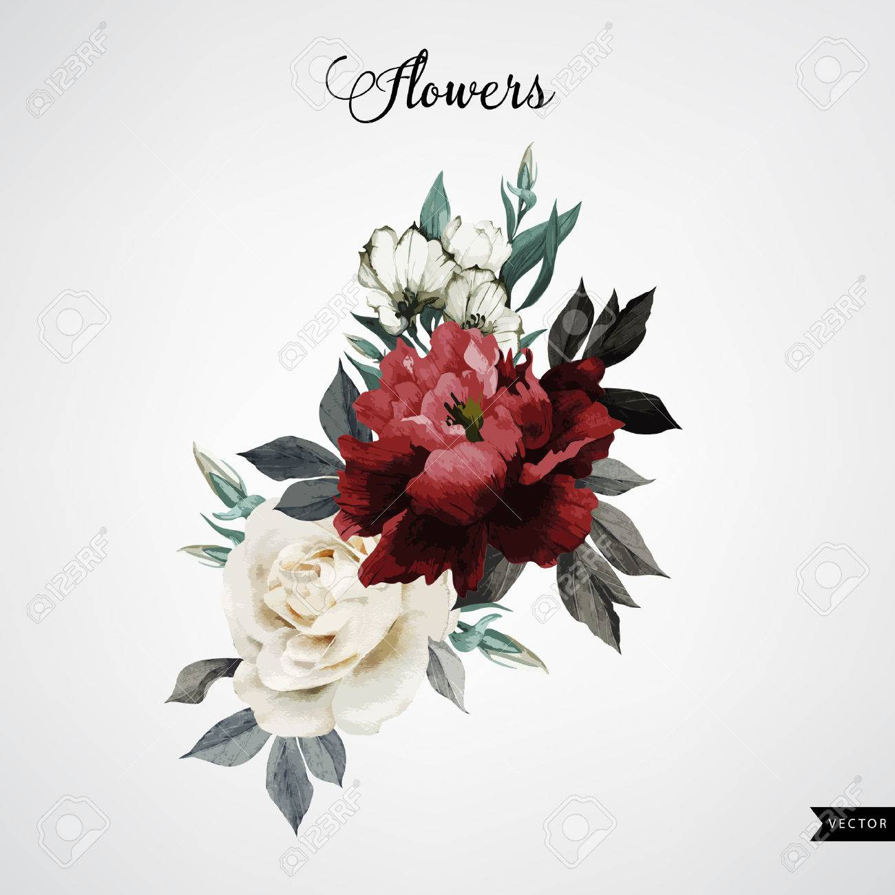 Bouquet of roses, watercolor, can be used as greeting card, invitation card for wedding, birthday and other holiday and summer background. Vector. - 42138588