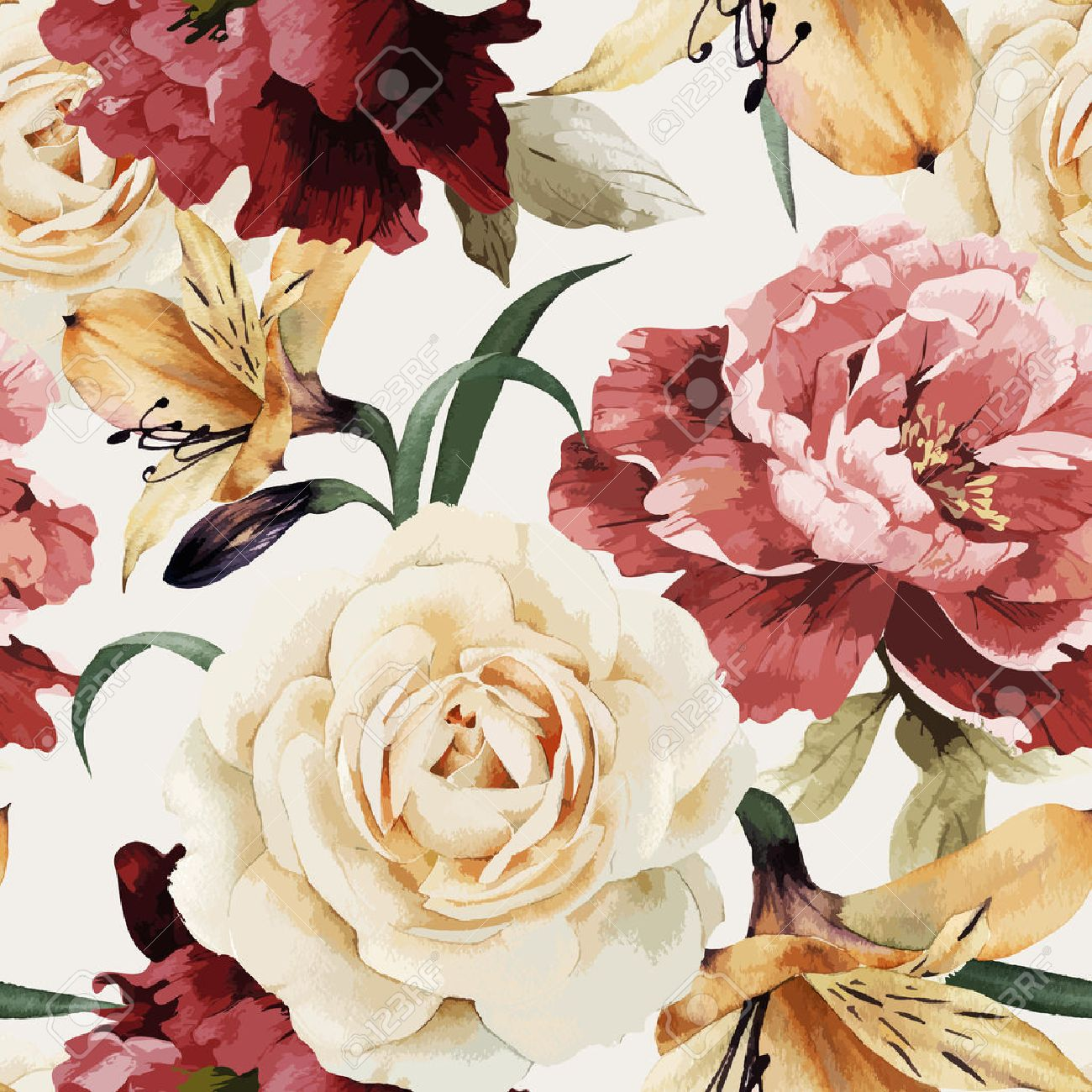 Seamless floral pattern with roses, watercolor. Vector illustration. - 42138591