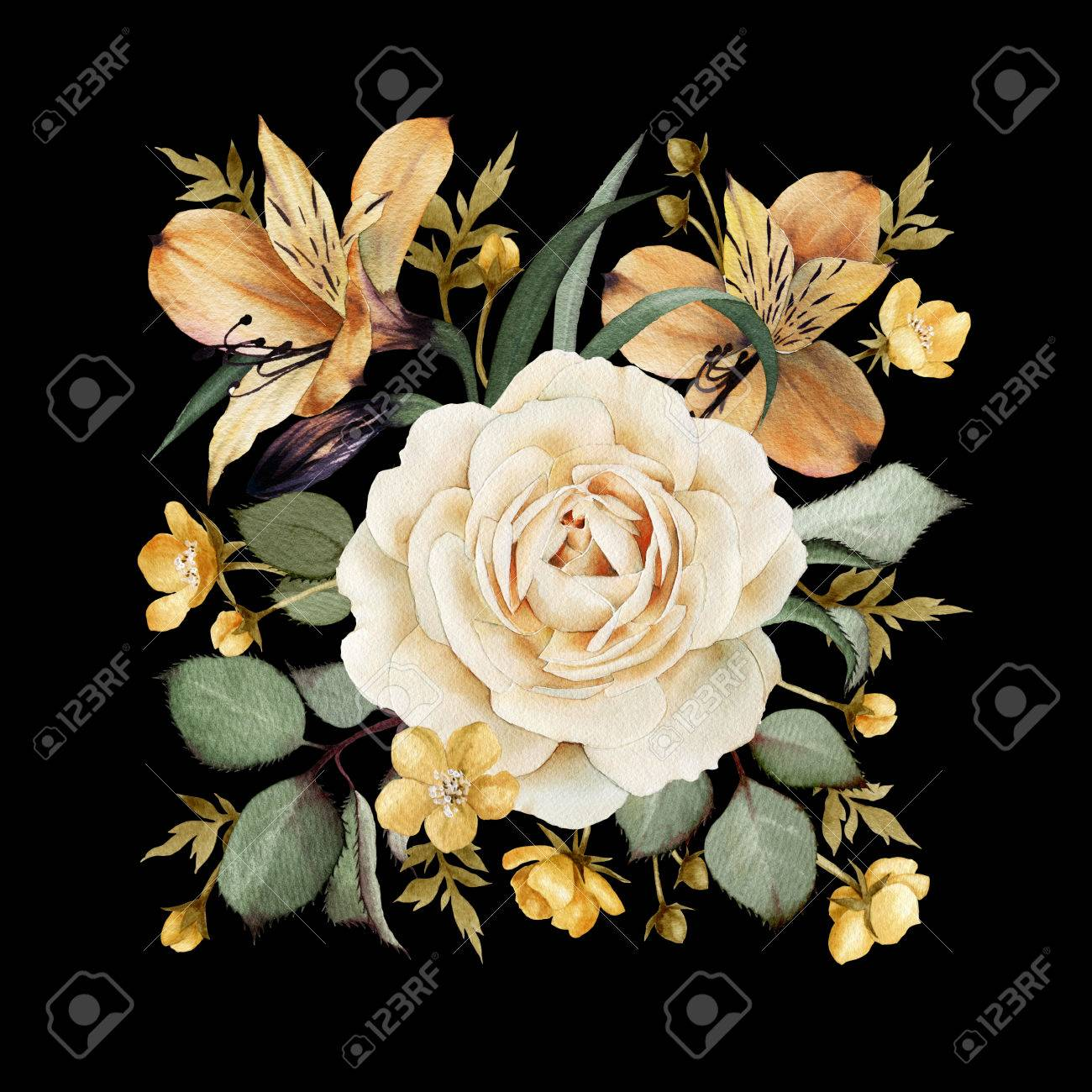 Greeting card with roses, watercolor, can be used as invitation card for wedding, birthday and other holiday and summer background. - 42138907