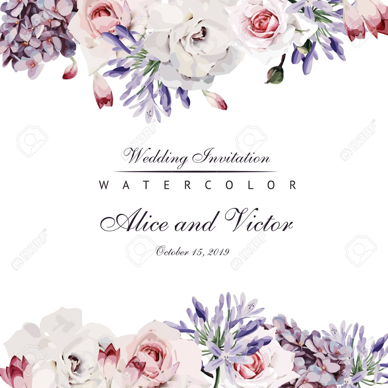 Greeting card with roses, watercolor, can be used as invitation card for wedding, birthday and other holiday and summer background. Vector illustration. - 95845398