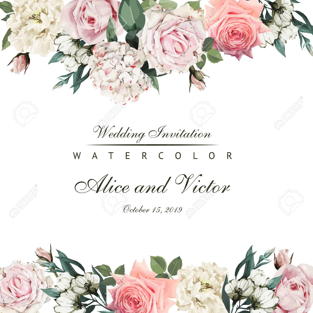 Greeting card with flowers. Vector - 96114090