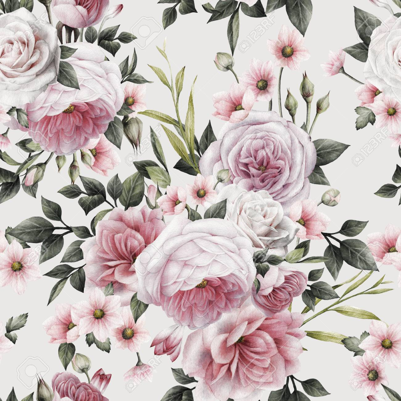 seamless floral pattern with roses, watercolor. - 96407071