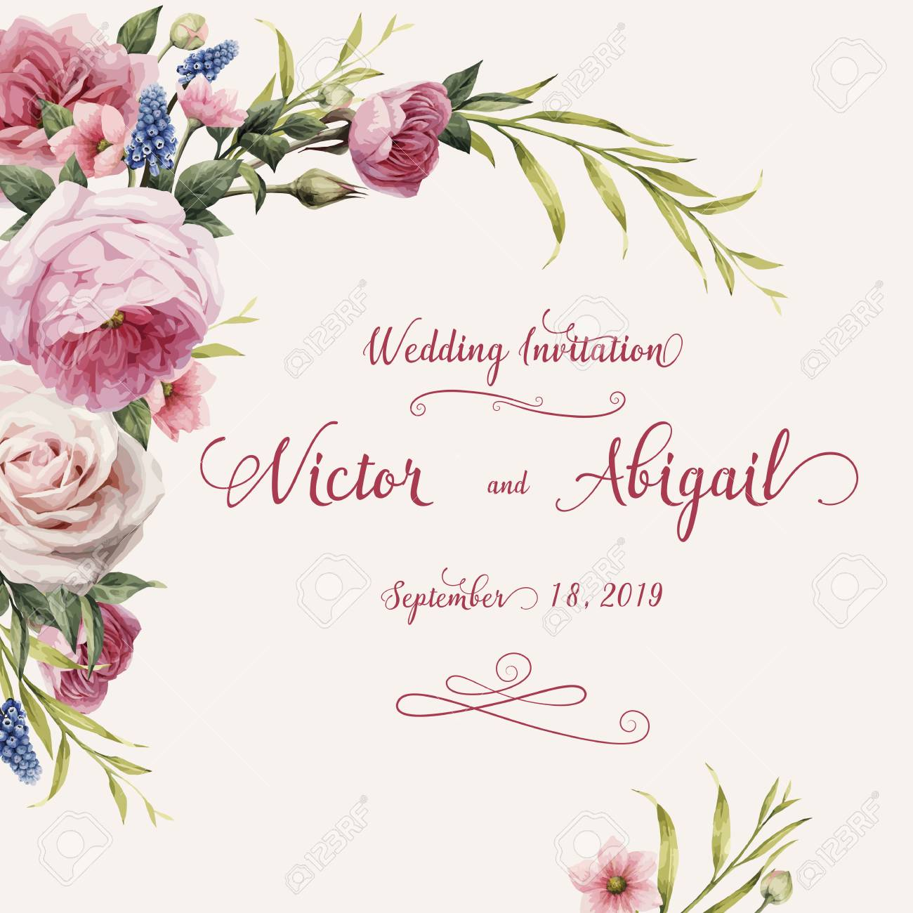 Greeting card with roses, watercolor, can be used as invitation card for wedding, birthday and other holiday and summer background. Vector illustration. - 96182659