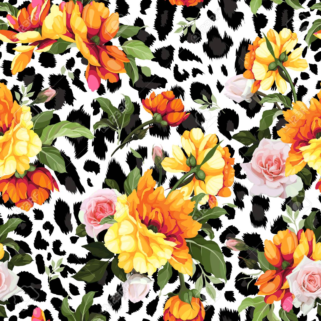 Seamless floral pattern with roses, watercolor. Vector illustration. - 97308102