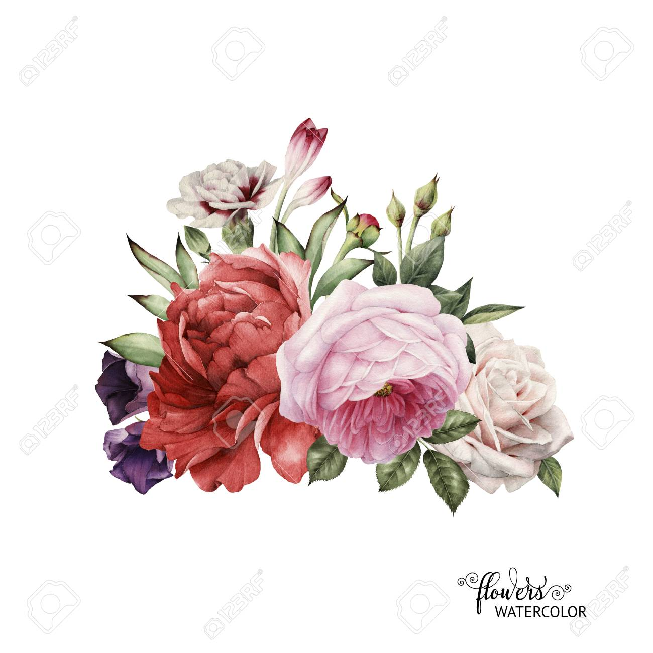 Bouquet Of Peonies, Watercolor, Can Be Used As Greeting Card ...