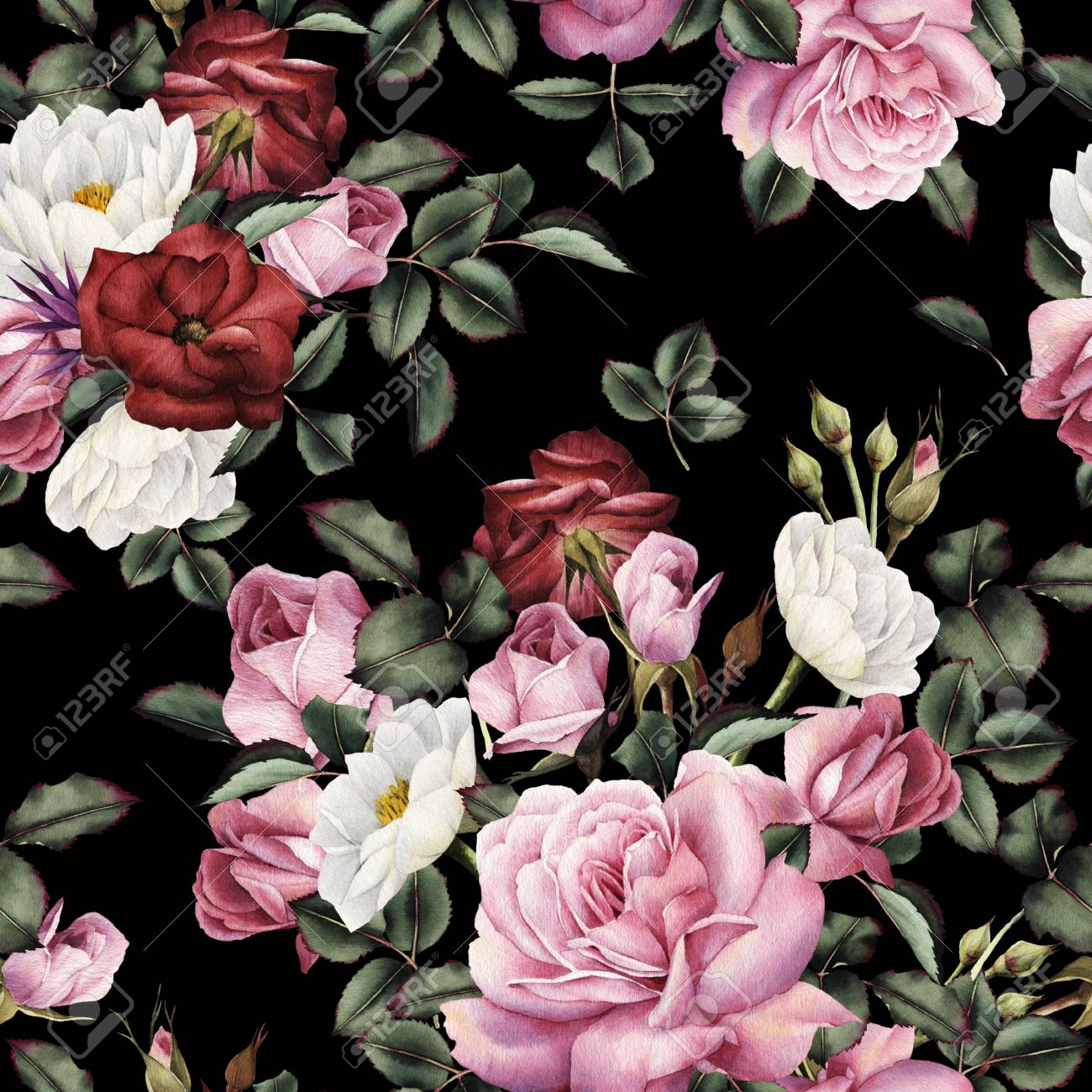 Seamless floral pattern with roses, watercolor. - 124953211