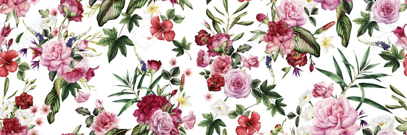 Seamless floral pattern with flowers, watercolor. - 124953660