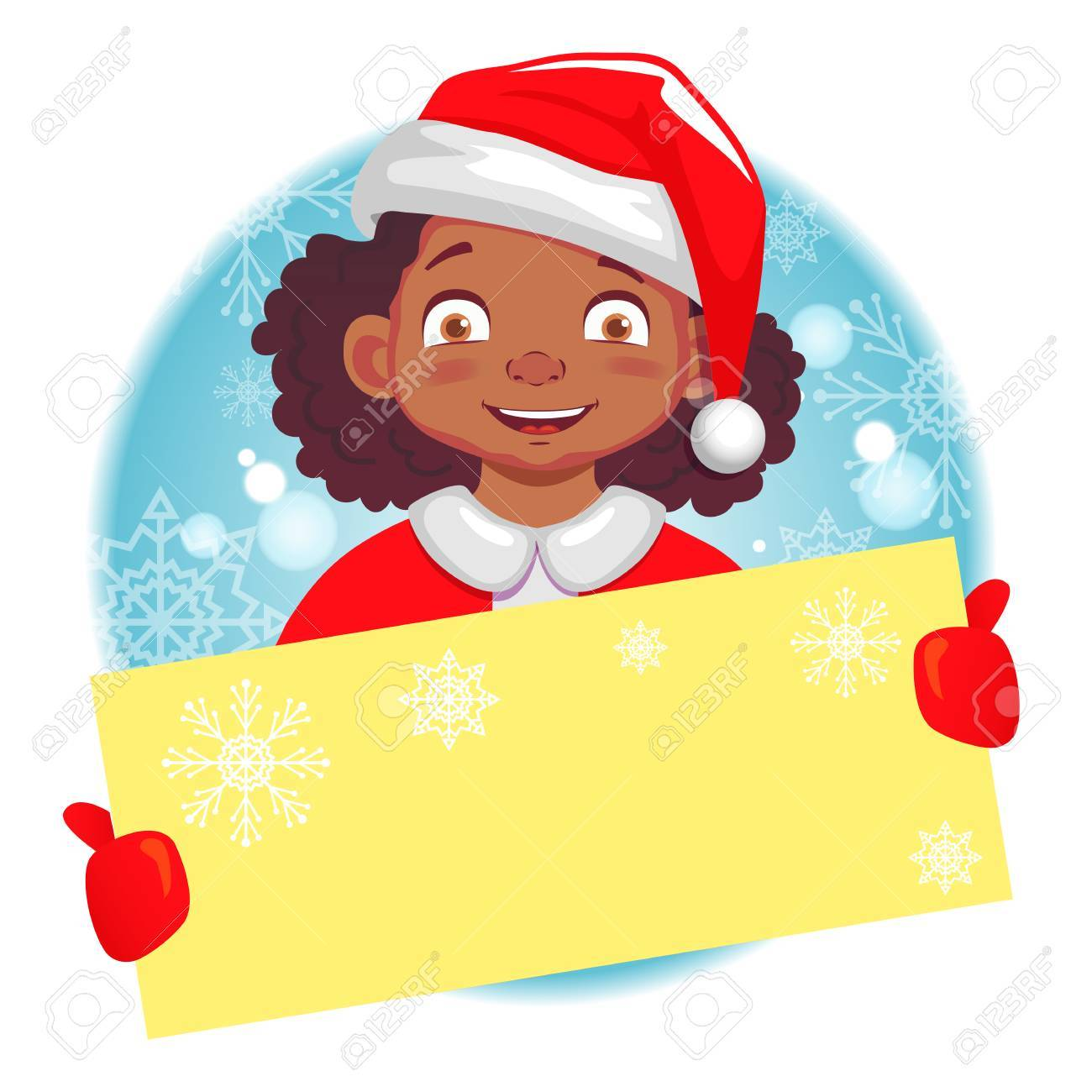 Christmas greeting african american girl holds christmas card christmas greeting african american girl holds christmas card girl in santa claus hat stock kristyandbryce Images