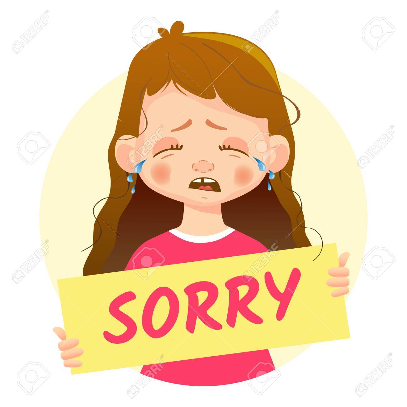 i am sorry message girl holding sorry poster stock vector 87429929
