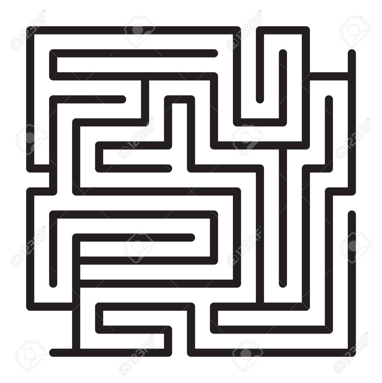 Maze Game Scheme Square Labyrinth Sample Vector Illustration