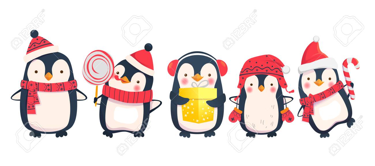 penguins cartoon vector illustration christmas penguin characters