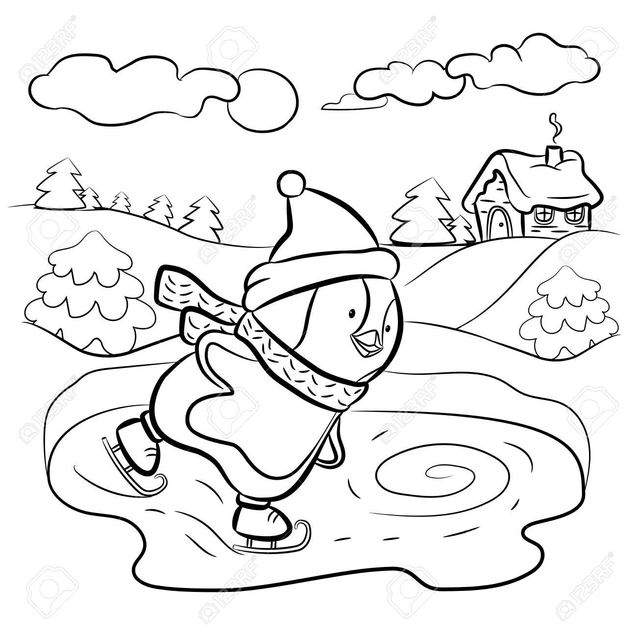 Malvorlagen Für Kinder Pinguin Eis Skater Illustration Lizenzfreie