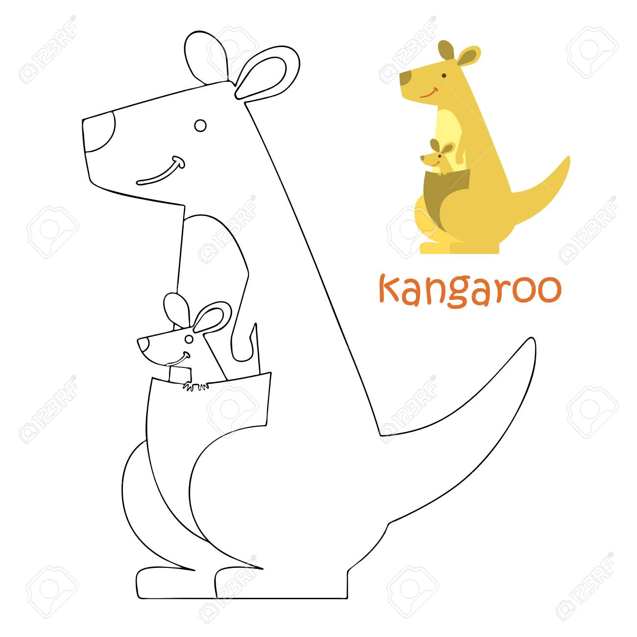 Coloring Book Animal Kids Pages Kangaroo Stock Photo