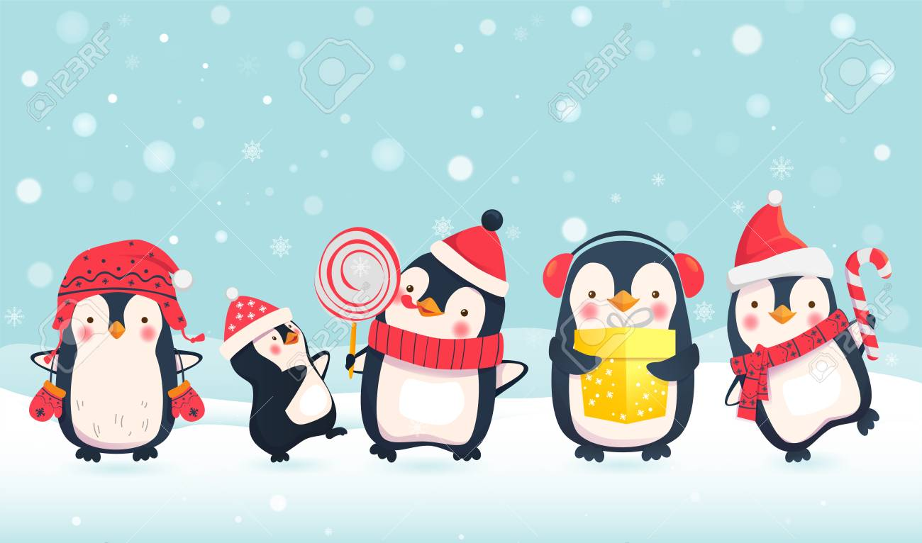 Ilustración De Dibujos Animados De Pingüinos Personajes De Pingüino