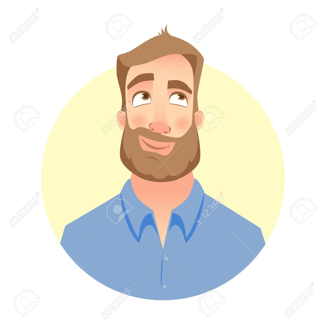 A Dreaming man. Face of man with beard - 92994109