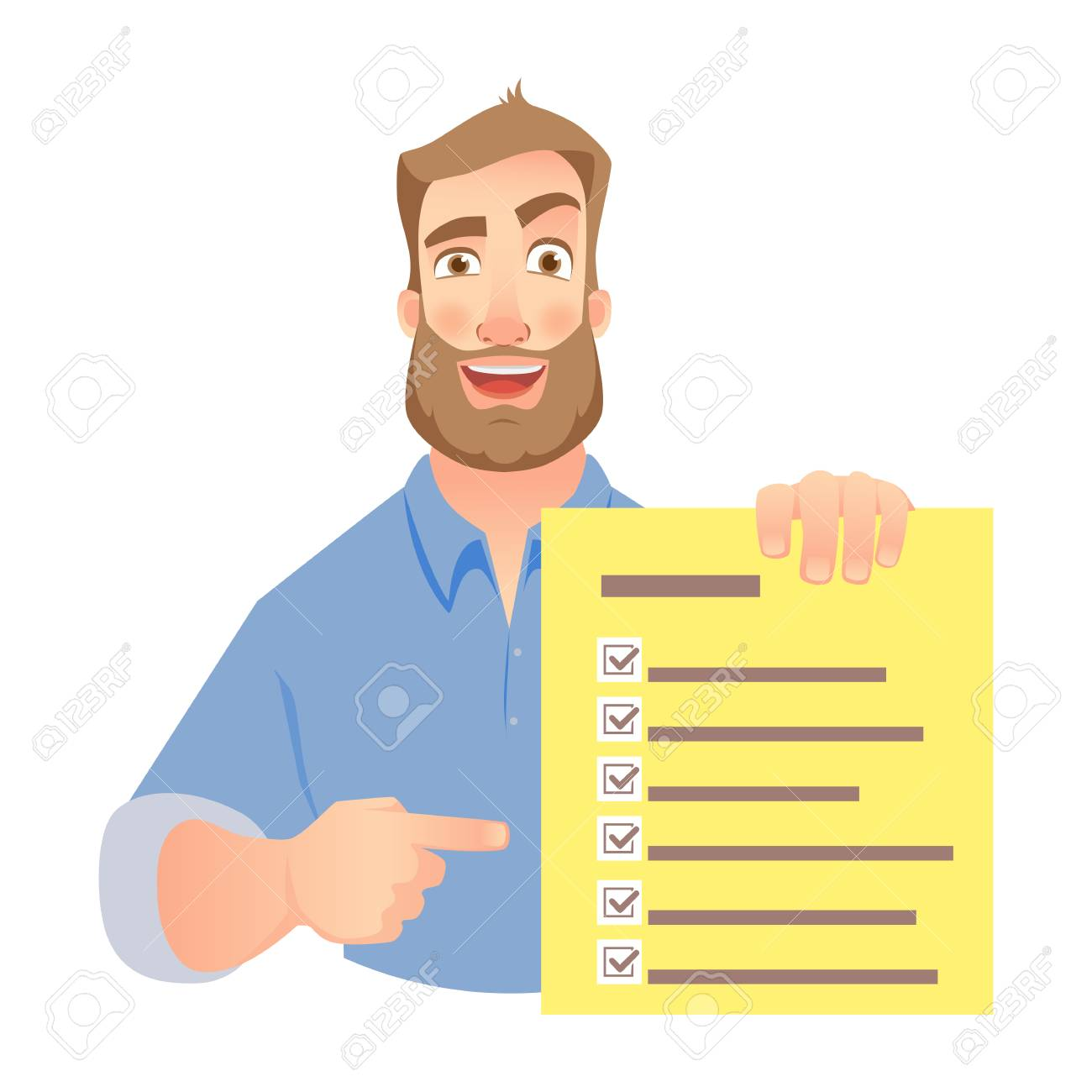 Man holding checklist. Businessman points to check list. Vector - 97933066