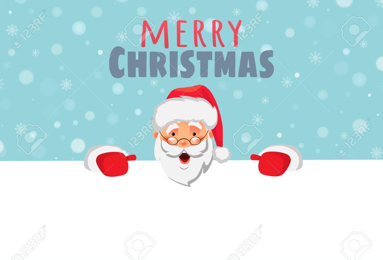 Santa Claus Holding Border Christmas Blank Advertising Banner Royalty Free Cliparts Vectors And Stock Illustration Image 127052095