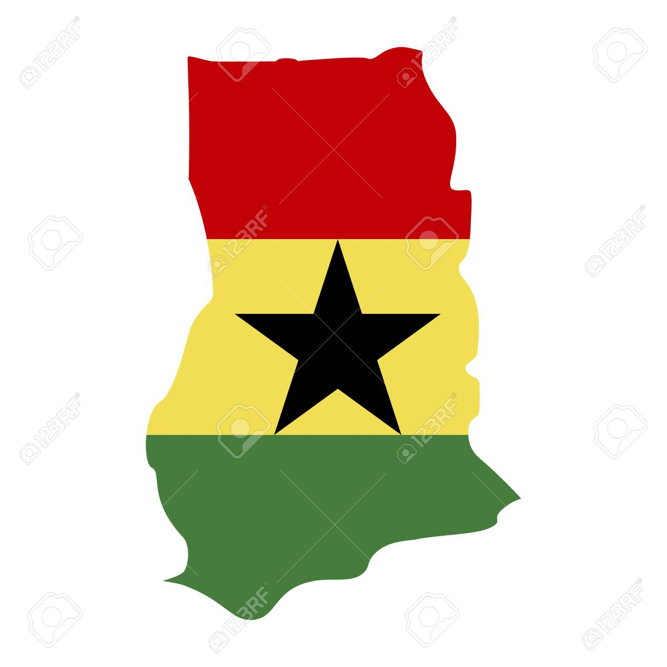 map of Ghana with flag inside. Ghana map vector illustration