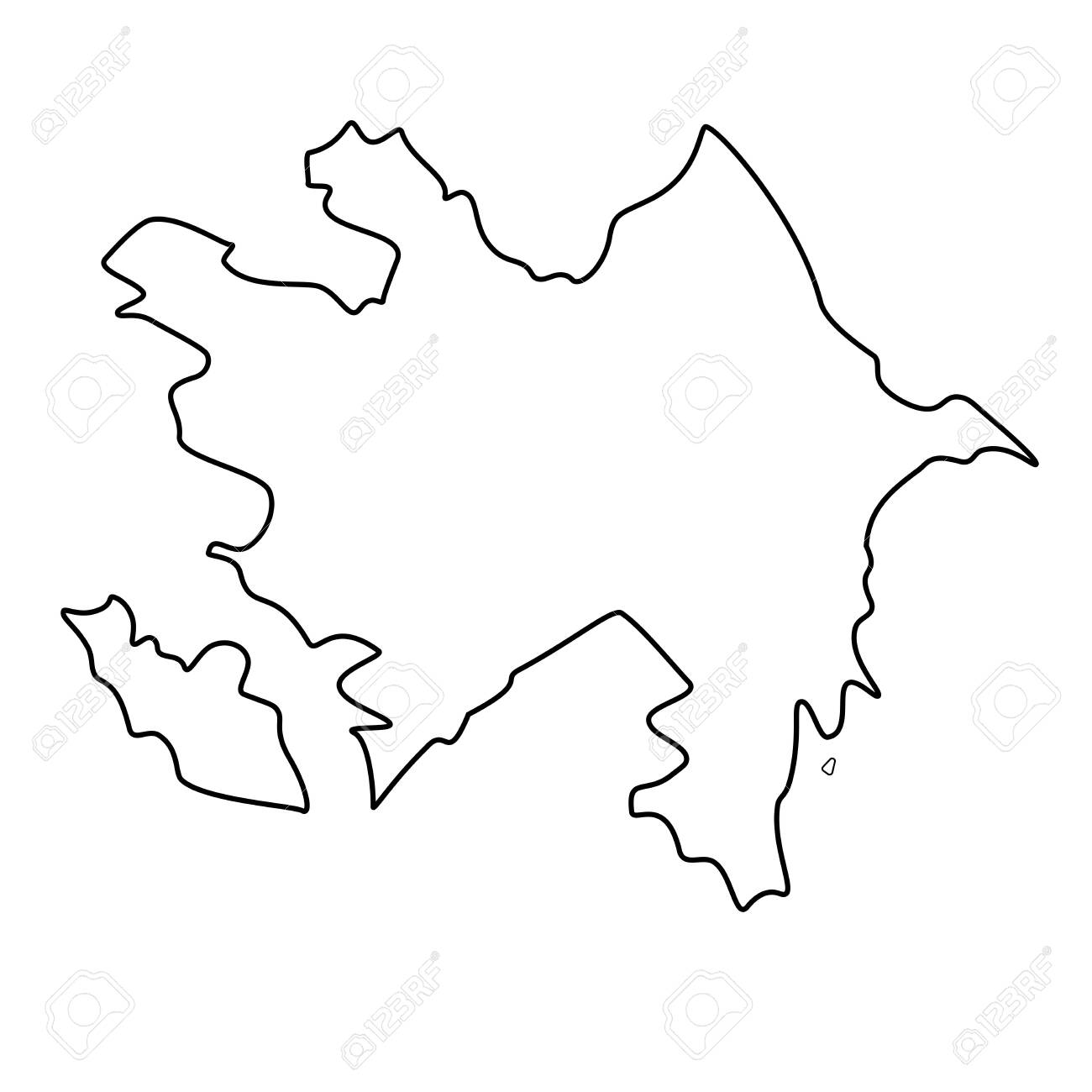 Map of Azerbaijan - outline. Silhouette of Azerbaijan map vector illustration - 116003817