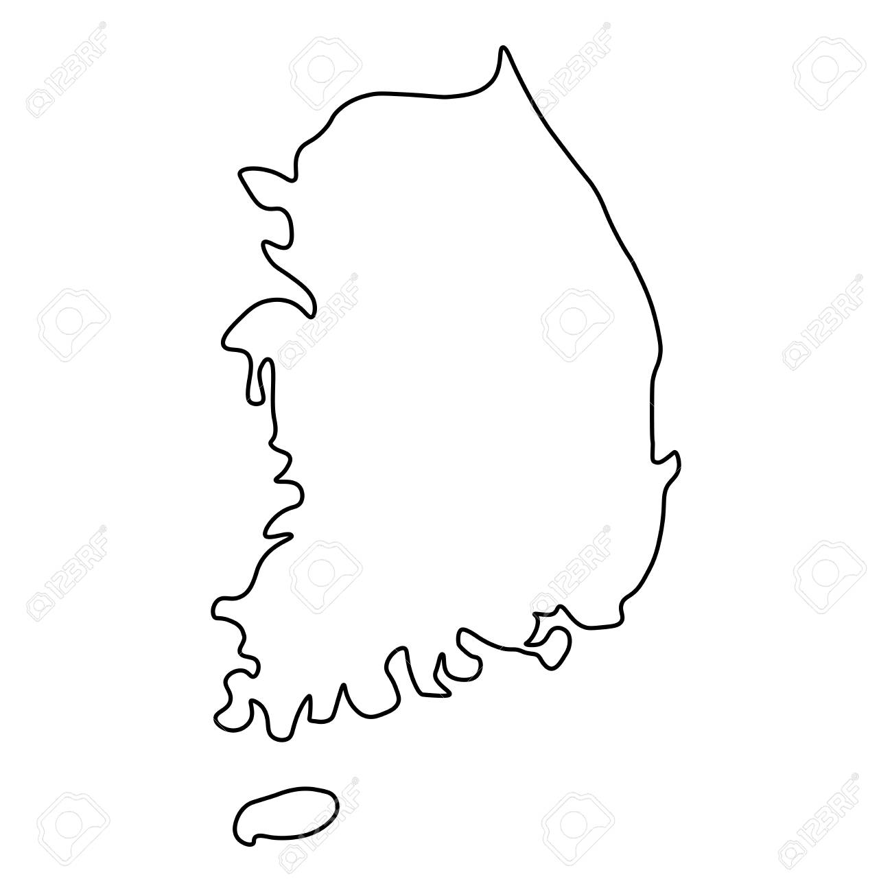 South Korea Map Outline Map Of South Korea   Outline. Silhouette Of South Korea Map