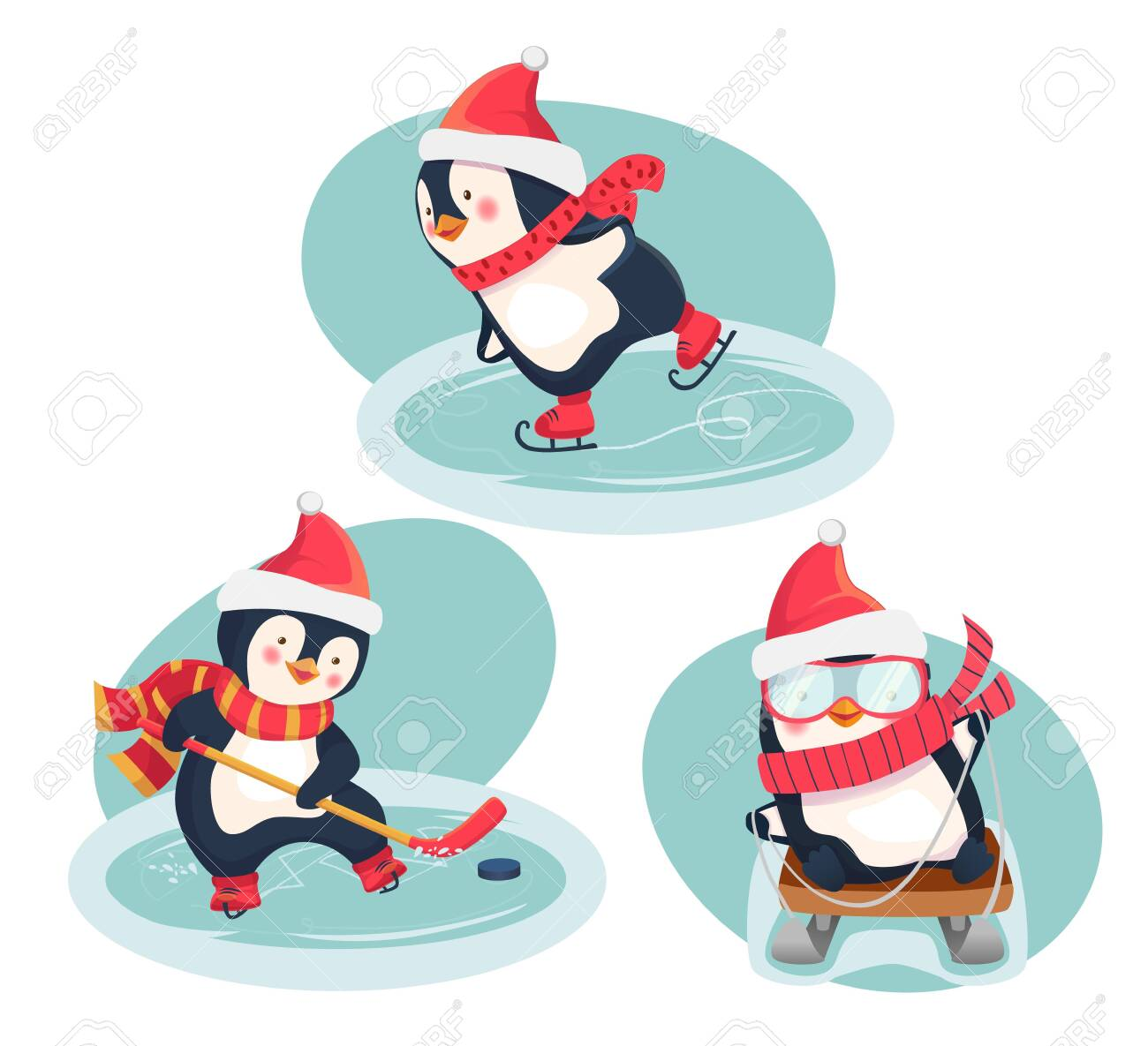 Christmas penguins in winter. Winter sports. Childrens sports concept. Vector illustration. - 125898183