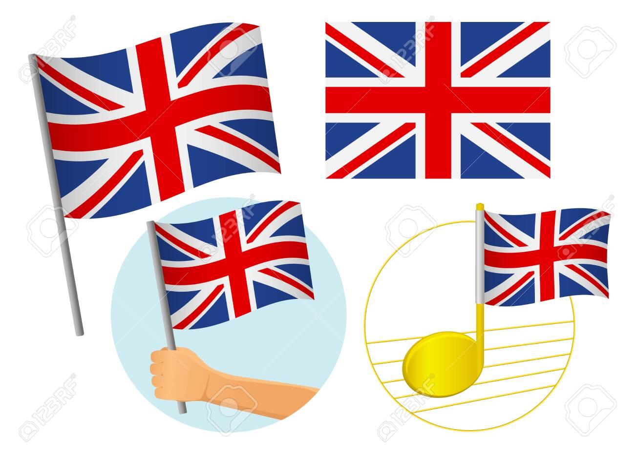 United Kingdom flag icon set. National flag of United Kingdom vector illustration - 131829016