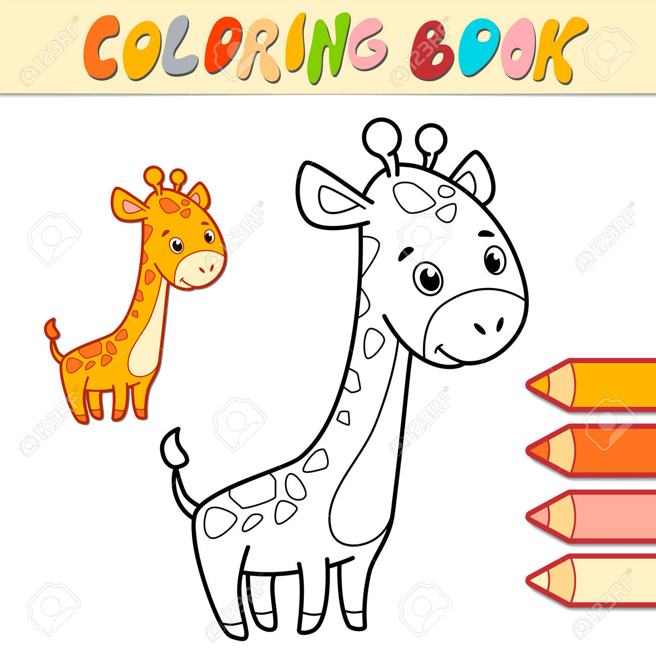 Coloring book or page for kids. giraffe black and white vector illustration - 168779443