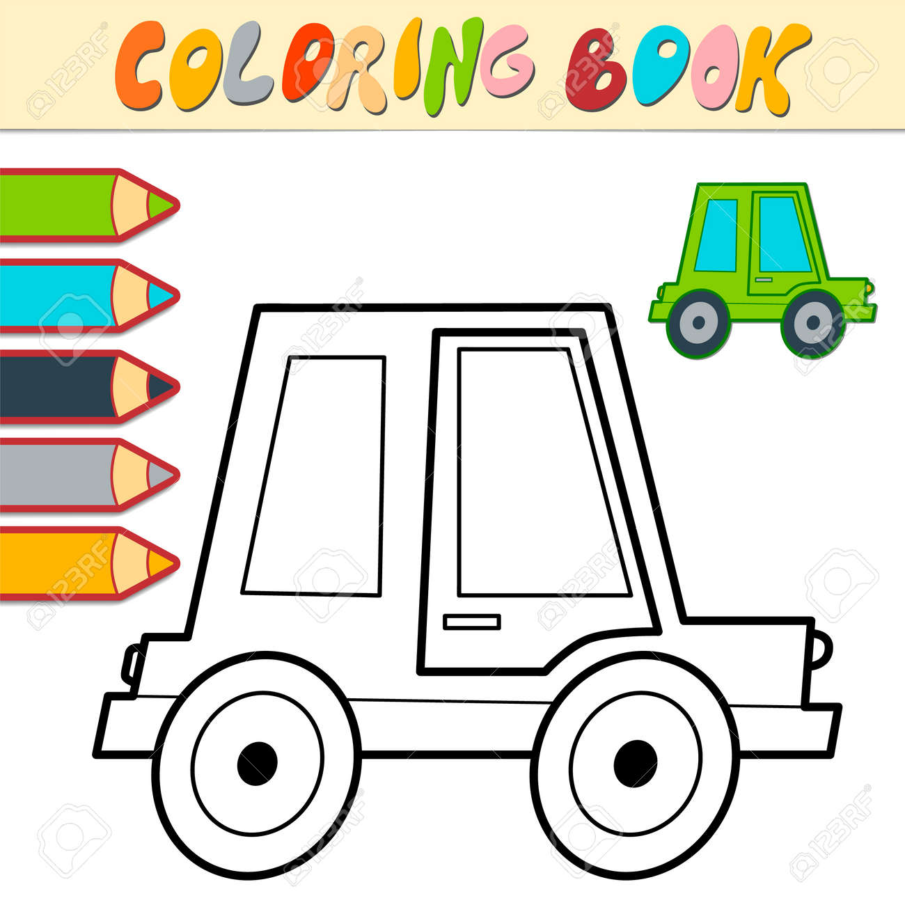 Coloring book or page for kids. car black and white vector illustration - 168779460