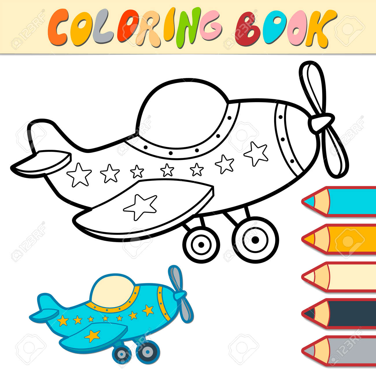 Coloring book or page for kids. plane black and white vector illustration - 168779461