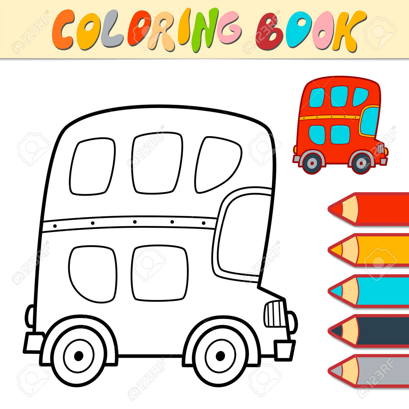 Coloring book or page for kids. bus black and white vector illustration - 168779462