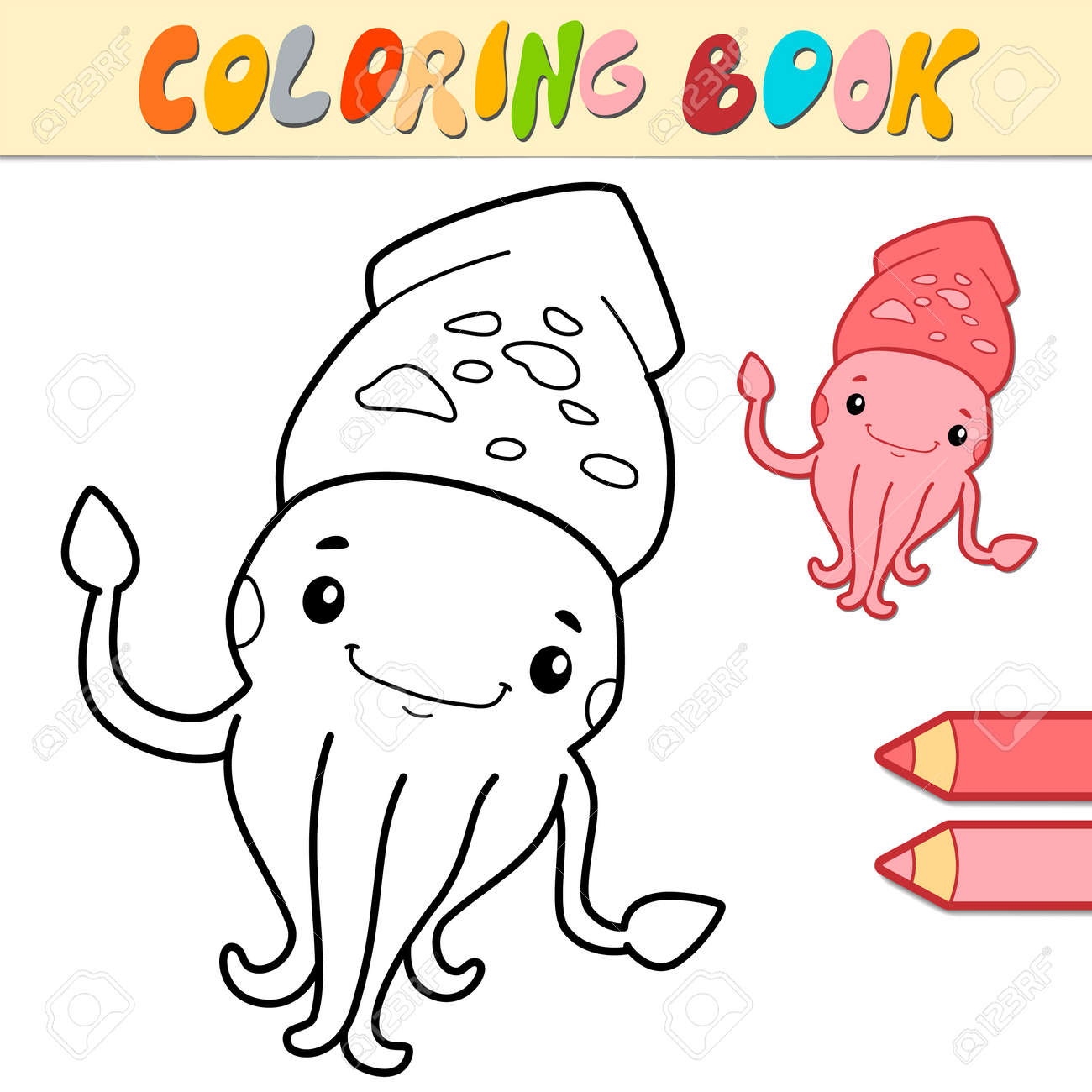 Coloring book or page for kids. squid black and white vector illustration - 168778513