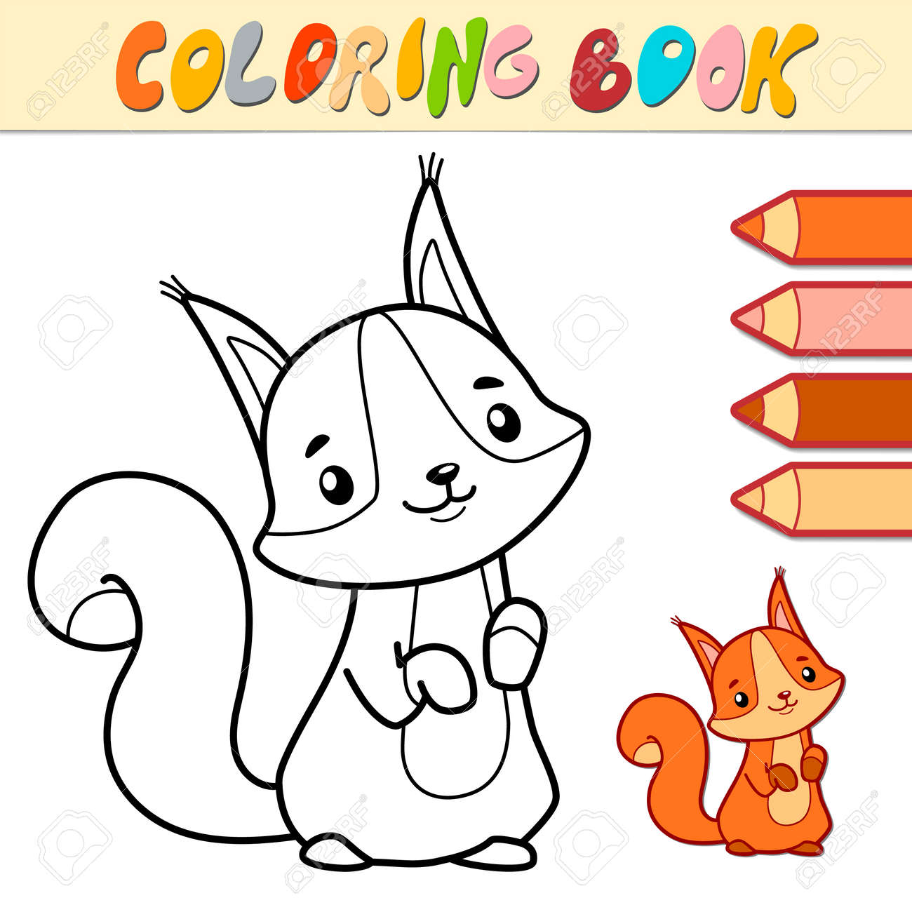 Coloring book or page for kids. squirrel black and white vector illustration - 168778520