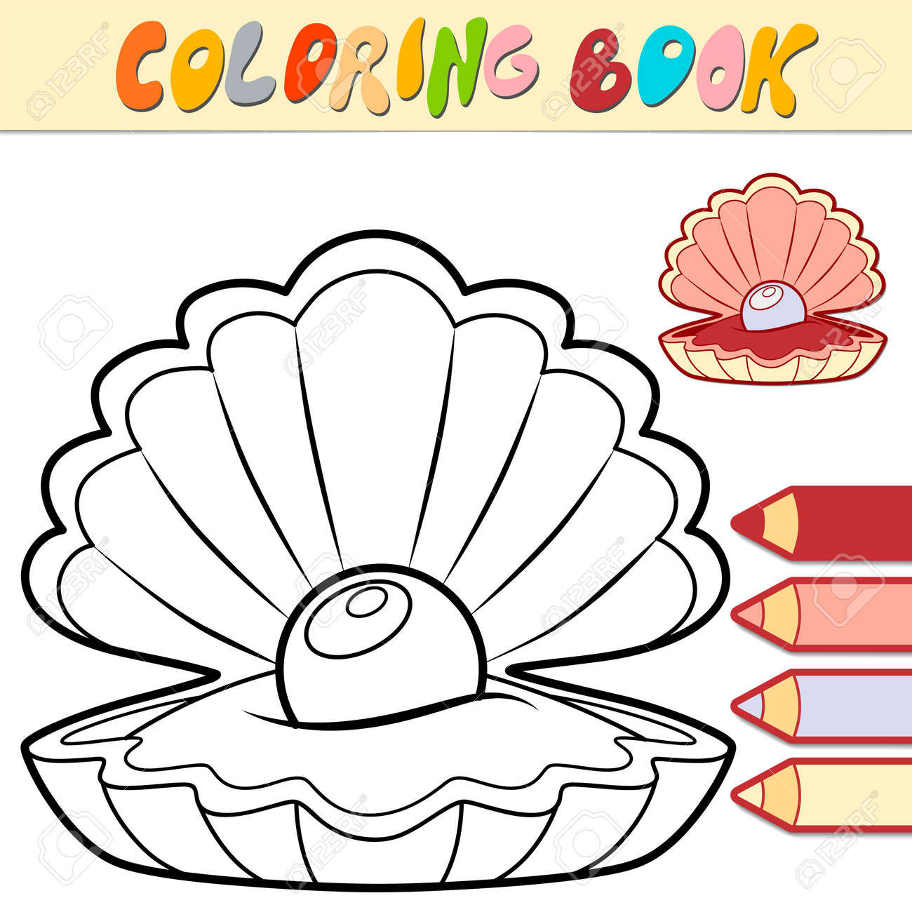 Coloring book or page for kids. shell black and white vector illustration - 168778525