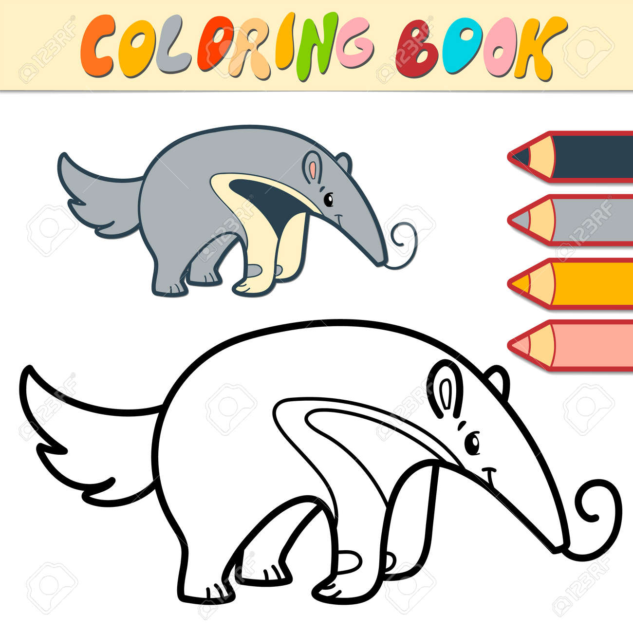 Coloring book or page for kids. ant-eater black and white vector illustration - 168781286