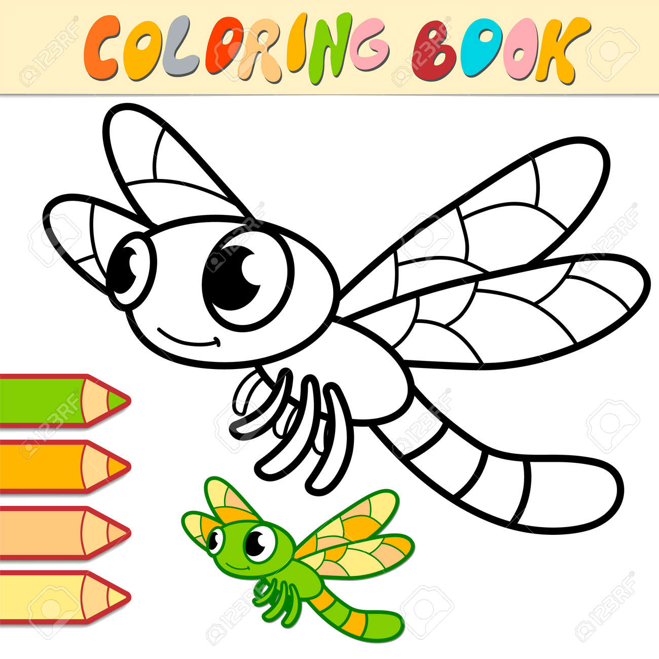 Coloring book or page for kids. dragonfly black and white vector illustration - 168781299