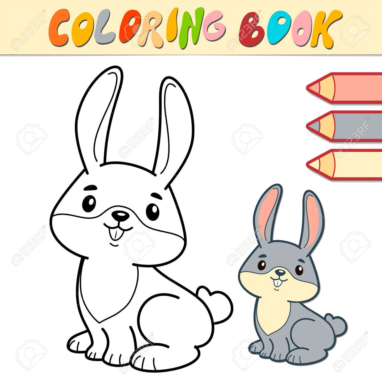 Coloring book or page for kids. rabbit black and white vector illustration - 168984988