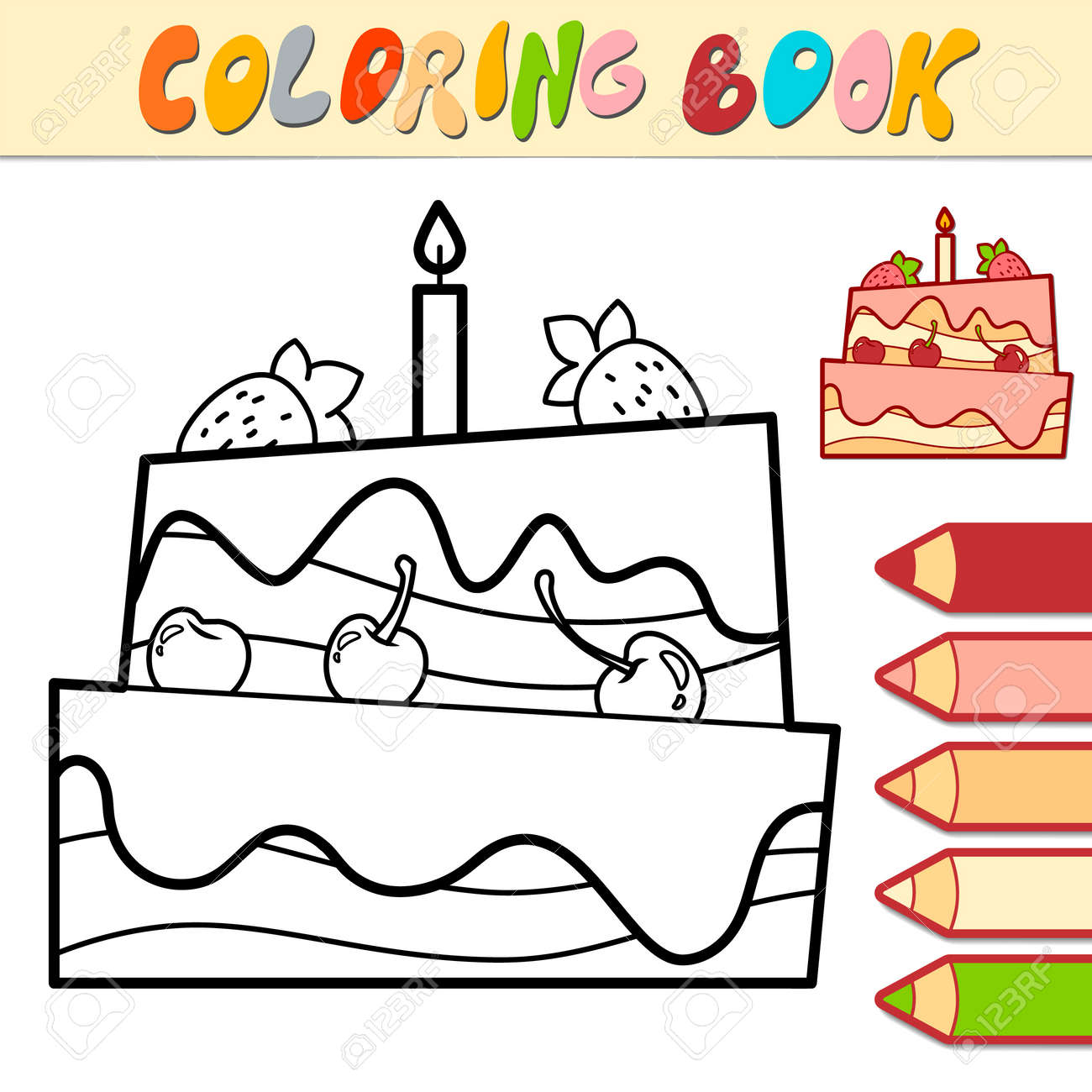 Coloring book or page for kids. cake black and white vector illustration - 168984986