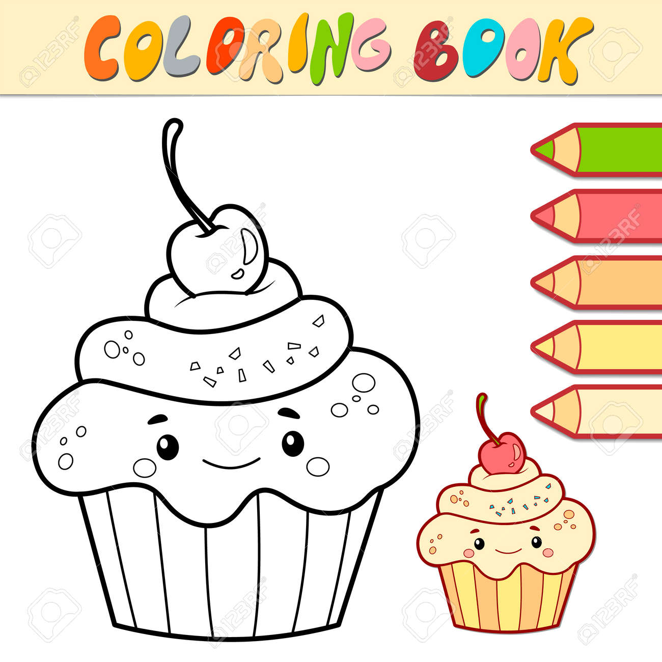 Coloring book or page for kids. cake black and white vector illustration - 168986155