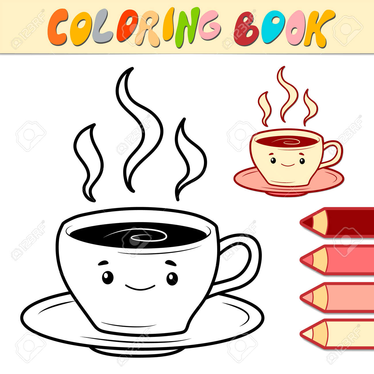 Coloring book or page for kids. cup black and white vector illustration - 168779500