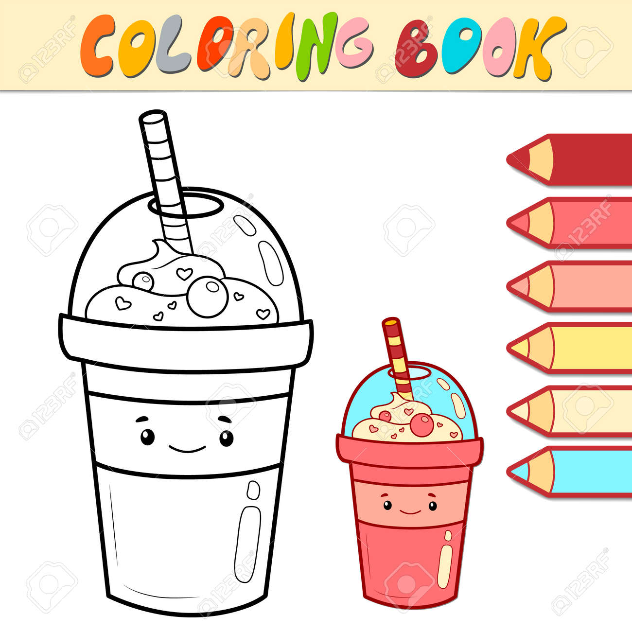 Coloring book or page for kids. drink black and white vector illustration - 168779501