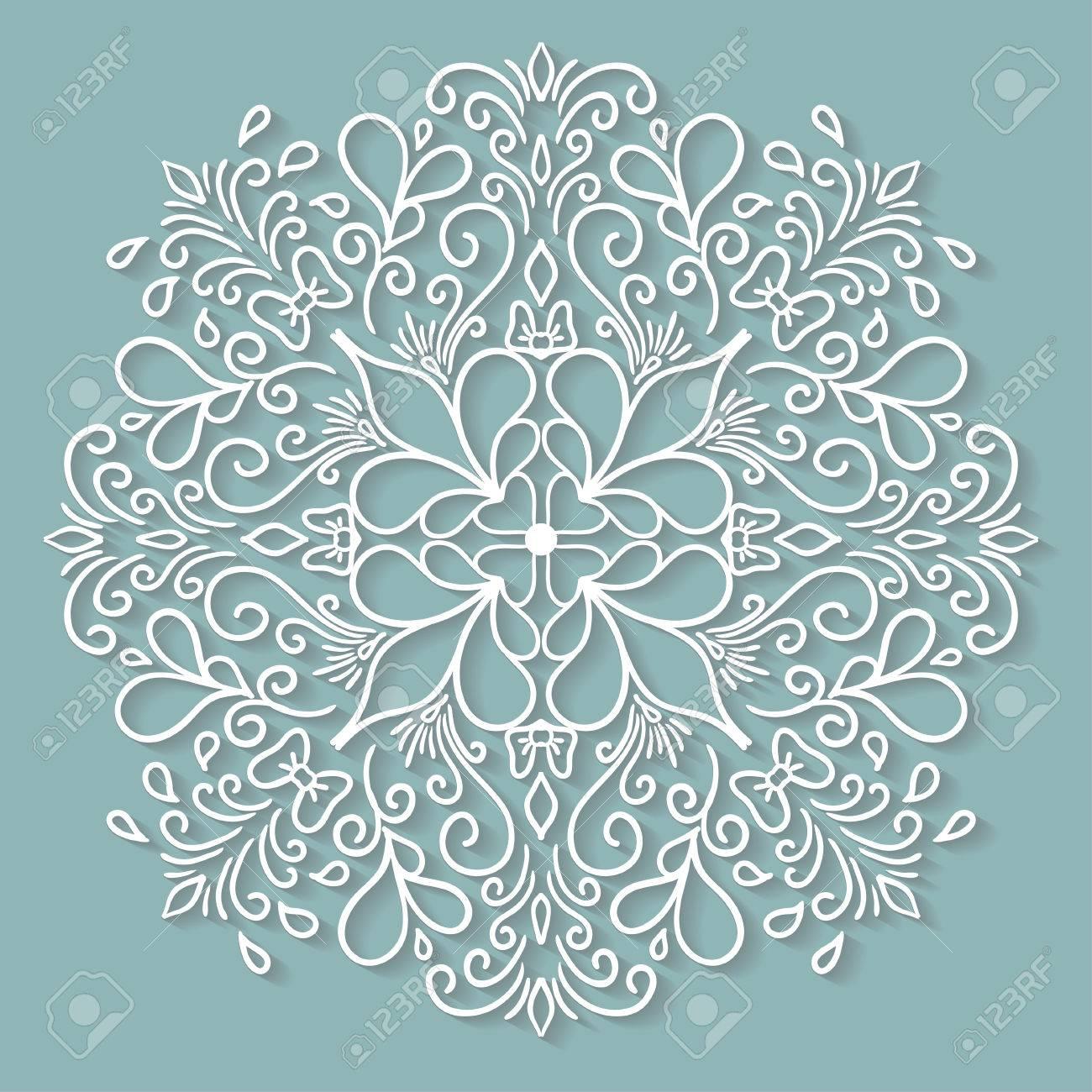 Papier Kanten Kleedje Decoratieve Sneeuwvlok Ronde Haken Ornament