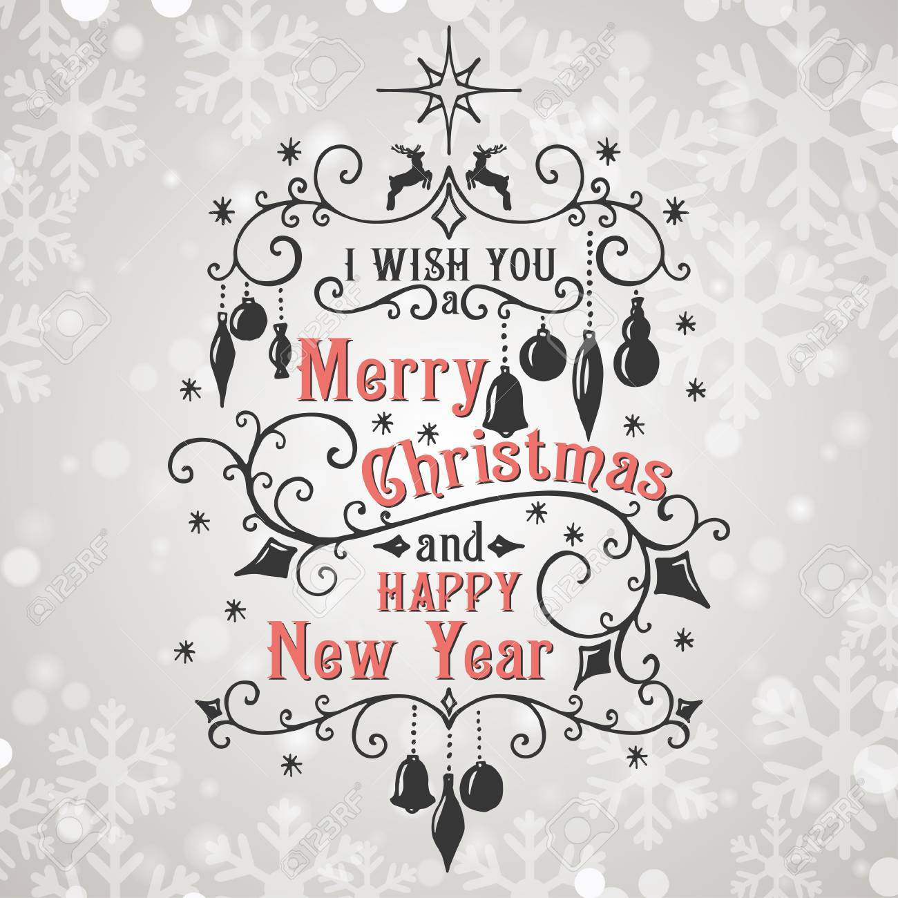 I Wish You A Merry Christmas And Happy New Year Lettering ...