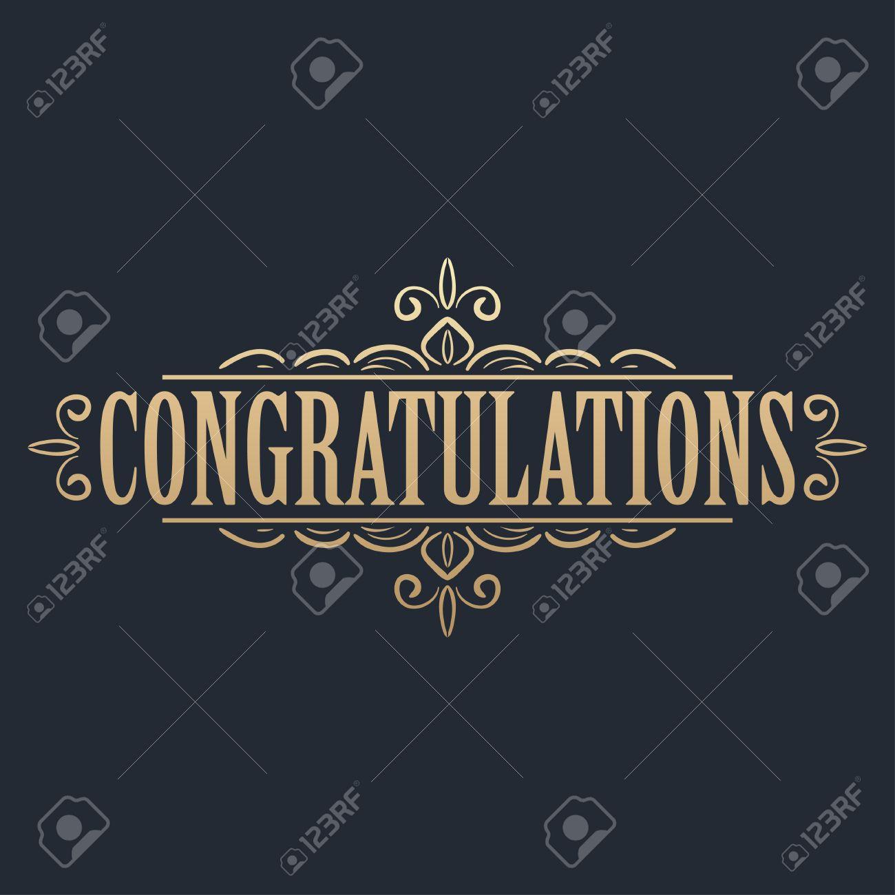 Calligraphic Design Element. Golden Congratulations Card Design ...