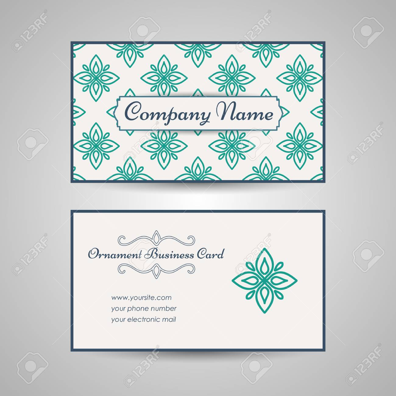 Vintage Arabic Style Business Card Template Vector Illustration