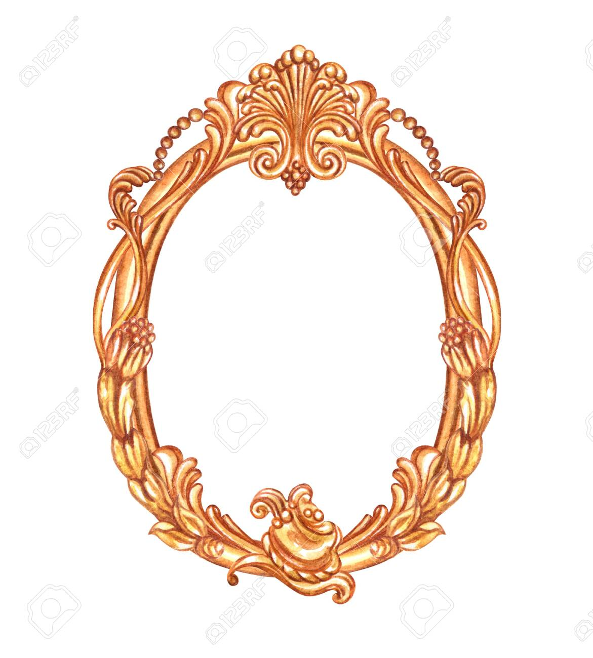 Gold oval frame with Baroque pattern, watercolor painting on white background, isolated. - 146520112