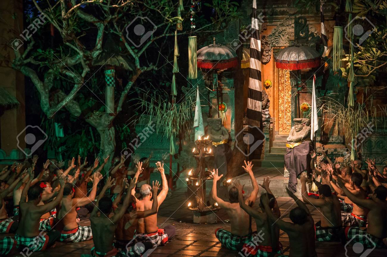 Batu Bulan, Bali, Indonesia - July 19, 2015: Performance of a traditional Kecak dance. - 43722223