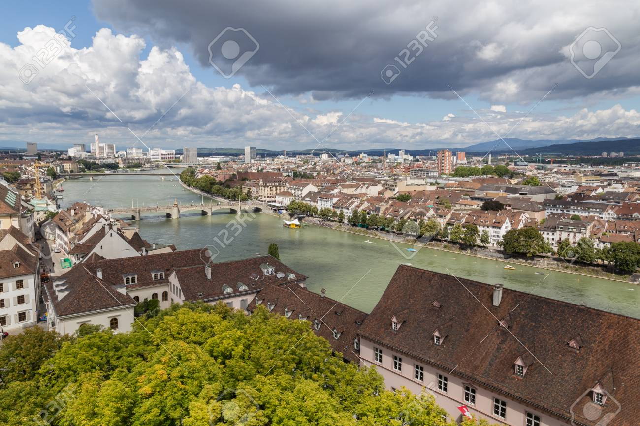 View of Basel city from one of the towers of the cathedral. - 50250385